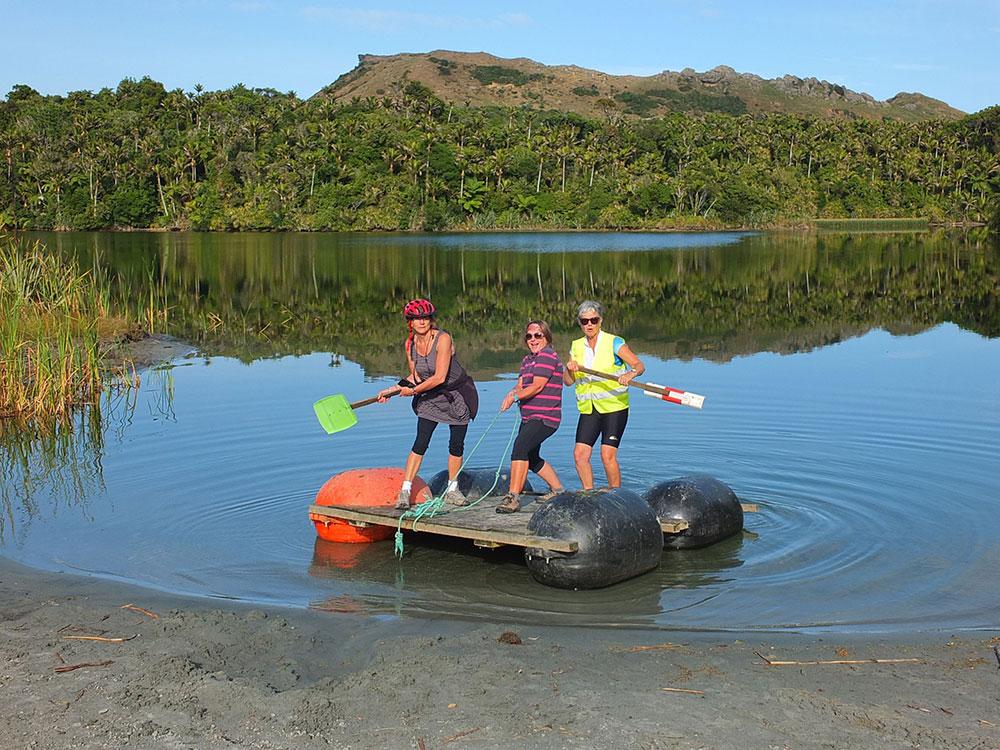Tasman Great Taste Cycle Tour group taking time out on lake