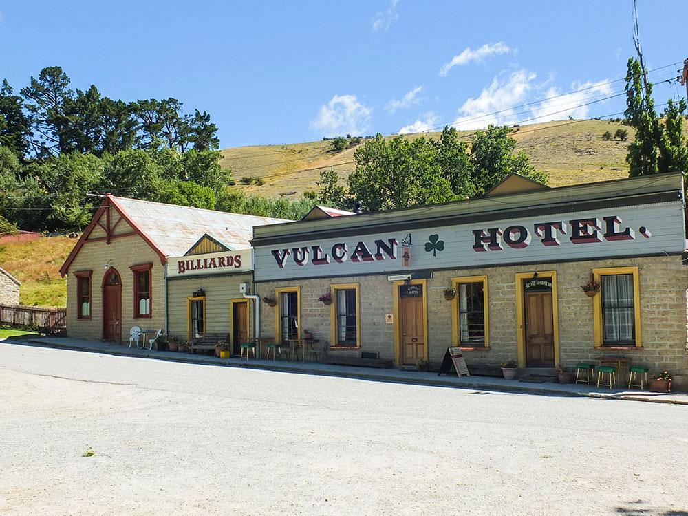 Historic Vulcan Hotel on the Otago Rail Trail