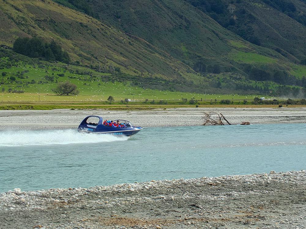 Jet boat tour on Dart River an option on a custom South Island tour