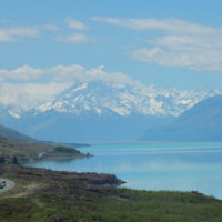 Mt Cook beside blue lake on our private tour