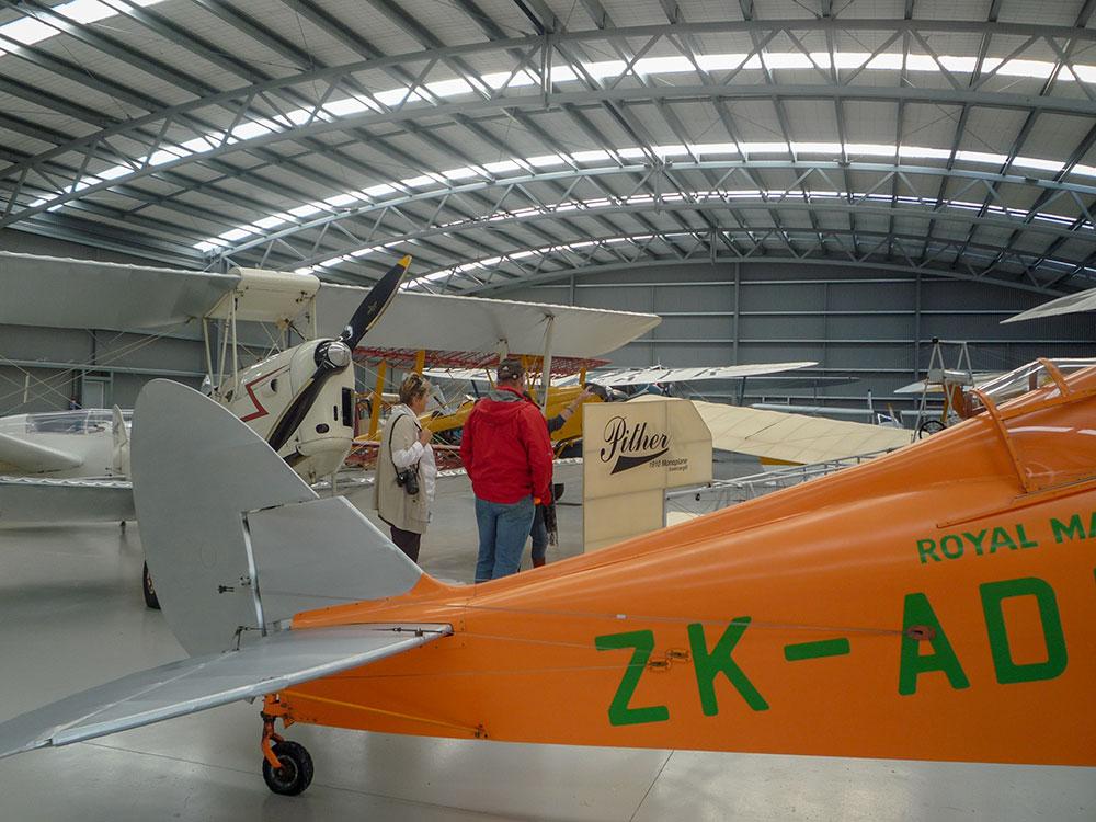 Vintage bi-planes on display in Croydon Aviation Heritage Centre Bluff Oyster Tour